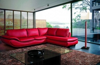 Red Bonded Leather Sectional Sofa with Soft Padded Seats
