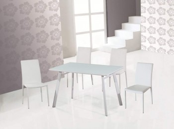 Ultra Contemporary Dining Room Table with White Lacquered Glass