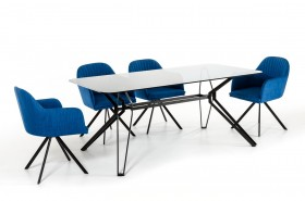 Urban Design Glass and Metal Blue Dining Set