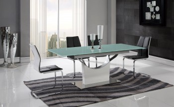 Extendable White and Chrome Table with Black Leatherette Chairs