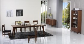 Extendable in Wood Fabric Seats Five Piece Designer Dinette Set