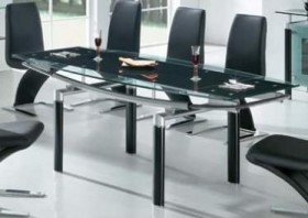 108 DT Glass Dining Room Table in Black, White or Beige Color