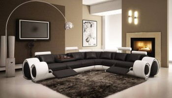Contemporary Bonded Leather Sectional