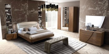 Made in Italy Leather Elite Design Furniture Set with Headboard Light