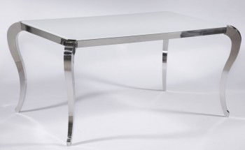 Santa Fe White Frosted Glass Contemporary Dining Table with Polished Legs
