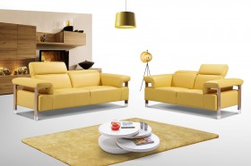 Canary Yellow Three Piece Top Grain Leather Living Room Set