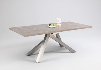 Dark Oak Dining Table with Stainless Steel Legs