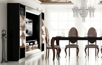 Contemporary Black and Rose Gold Wall Unit