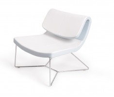 Ultra Contemporary White Eco-Leather Upholstered Chair