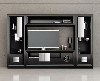 Elite Black and Silver Living Room Matte Wall Unit and Entertainment Center