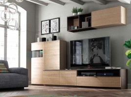 Natural Wood Color Wall Unit with Entertainment Center