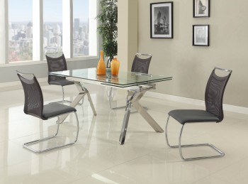 Fashionable Rectangular Glass Top Leather Kitchen Dinette Sets