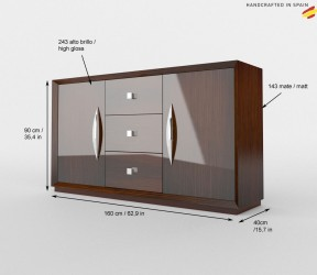Wood Finish High Gloss Lacquer European Buffet