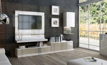 Exquisite White with Light Beige Wall Unit