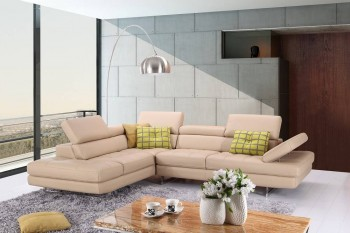 Italian Leather Upholstered Sectional with Three Color Options