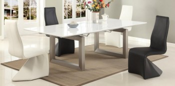 Extendable Rectangular Modern Dinner Table Set with Leaf