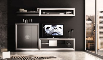 Modern Matte Black and Silver Living Room Wall Unit and Entertainment Center