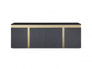 Modern Glossy Black Buffet with Golden Accents