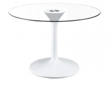 ABS Base Universe Dining Table with Clear Glass Top