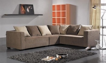 Refined Mircofiber Sectional with Chaise with Pillows