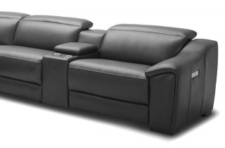Dark Leather Tufted Design and Comfy Seats with Adjustable Headrest Sectional