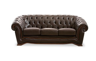 Traditional Brown Italian Leather Living Room Set