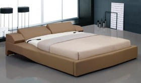 Overnice Leather Elite Platform Bed with Electric Headboard