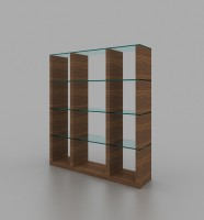 Wall Unit In Walnut Finish with Glass Shelves