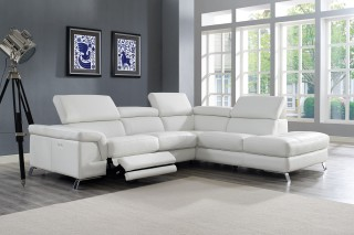 Real Italian Leather Sectional with Recliner Footrest