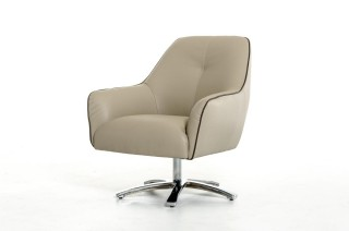 Contemporary Light Grey and Dark Grey Eco-Leather Lounge Chair