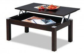 Wenge Rectangular Wooden Coffee Table with Inside Storage