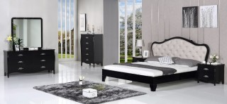 Exclusive Leather Platform and Headboard Bed