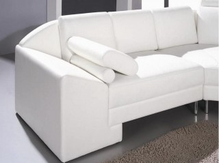 Adjustable Advanced Tufted Curved Sectional Sofa in Half Leather with Pillows