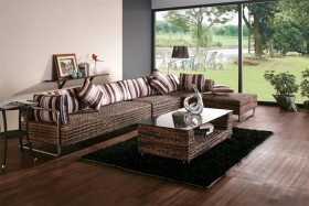 Contemporary Hand-Woven Rattan Sectional Sofa with Coffee Table