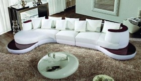White Bonded Leather Sectional Sofa with Wooden Accents
