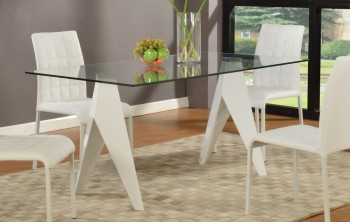 Split Leg Base Rectangular Glass Top Dining Table
