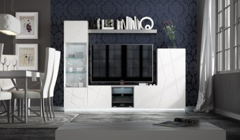 Elegant White Wall Unit with Stripe Design and LED Light