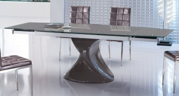 Contemporary Grey Extendable Dining Table with Unique Base