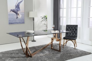 Unique Glass Top Rose Gold Abstract Dining Table