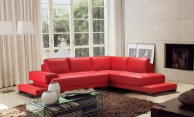 Luxurious Leather Curved Corner Sofa with Pillows