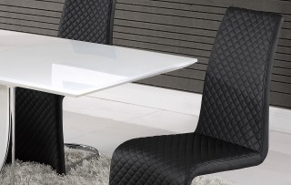 Elegant White Gloss and Chrome Dining Table with Tufted Leather Black Chairs