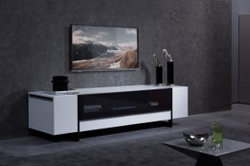 White Gloss Media Unit with Lots of Storage Compartments