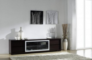 Ann Entertainment Unit with Movable Glass Doors and Drawers