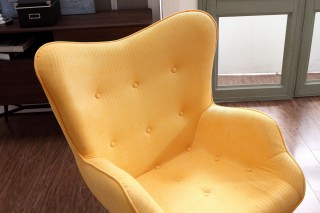 Cozy Yellow Fabric Chair with Ottoman