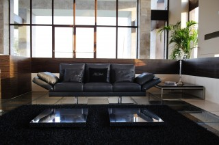 Black Leather Sofa Set with Adjustable Features