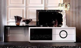 Contemporary White and Black Crocodile Texture and Lacquer TV Stand