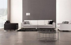 Three Piece White Microfiber Sofa Set