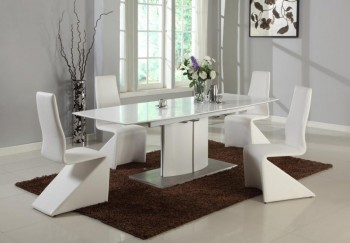 White Extendable Table with Self Storing Extension