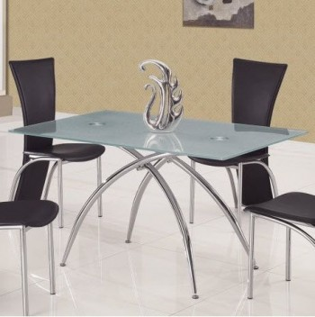 Glass and Metal Contemporary Dining Table