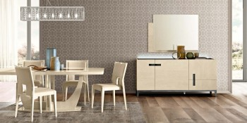 Contemporary Wooden and Microfiber Seats Designer Modern Dining Room
